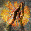 Hands in prayer. Photo based illustration.
