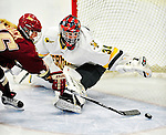 16 October 2010: University of Vermont Catamount goaltender Roxanne Douville, a Freshman from Beloeil, Quebec, gives up a third period goal to the Boston College Eagles at Gutterson Fieldhouse in Burlington, Vermont. The Lady Cats fell to the visiting Eagles 4-1 in the second game of their weekend series. Mandatory Credit: Ed Wolfstein Photo