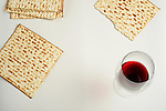 Jewish passover matzoh and red wine