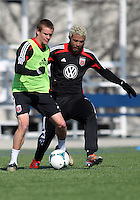WASHINGTON, DC - February 06, 2012: Taylor Kemp and Nick DeLeon of DC United during a pre-season practice session at Long Bridge Park, in Arlington, Virginia on February 6, 2013.