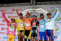 Overall leaders of the Vuelta al Tachira cycling race, (left to right) Jonathan Camargo (Cabimas), Paul Torres (Gov. of  Zulia), Manuel Medina (Gov. of Zulia), Victor Moreno (Zulia) and Rolando Trujillo (Bono Trecolli) take the podium at the end of stage seven in El Vigia, Venezuela on Friday, Jan. 11, 2008. Local and international teams will ride over 1580 kilometers and climb a 1500 meter altitude differential throughout the competition. The grueling, 13-stage race through the Andes mountains is hailed as the premier cycling event in South America.