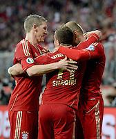 FUSSBALL  DFB-POKAL  HALBFINALE  SAISON 2012/2013    FC Bayern Muenchen - VfL Wolfsburg            16.04.2013 Torjubel nach dem 2:0 Bastian Schweinsteiger, Xherdan Shaqiri und Torschuetze Arjen Robben (v.l., alle beide FC Bayern Muenchen)