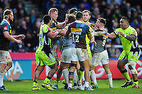 Tempers flare between the two sides. Aviva Premiership match, between Harlequins and Sale Sharks on January 7, 2017 at the Twickenham Stoop in London, England. Photo by: Patrick Khachfe / JMP