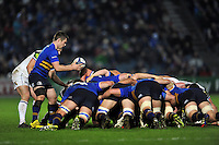 Luke McGrath of Leinster Rugby looks to put the ball into a scrum. European Rugby Champions Cup match, between Leinster Rugby and Bath Rugby on January 16, 2016 at the RDS Arena in Dublin, Republic of Ireland. Photo by: Patrick Khachfe / Onside Images