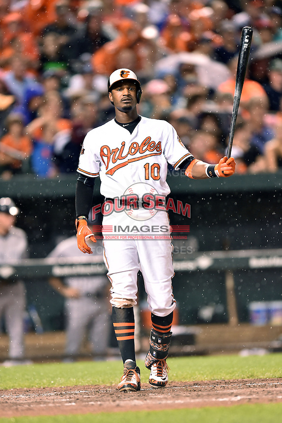 Baltimore Orioles center fielder Adam Jones #10 during a game against the New York Yankees at Oriole Park at Camden Yards August 11, 2014 in Baltimore, Maryland. The Orioles defeated the Yankees 11-3. (Tony Farlow/Four Seam Images)