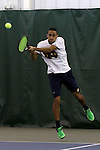13 March 2016: Notre Dame's Grayson Broadus. The Wake Forest University Demon Deacons hosted the University of Notre Dame Fighting Irish at the Wake Forest Indoor Tennis Center in Winston-Salem, North Carolina in a 2015-16 NCAA Division I Men's Tennis match. Wake Forest won the match 7-0.