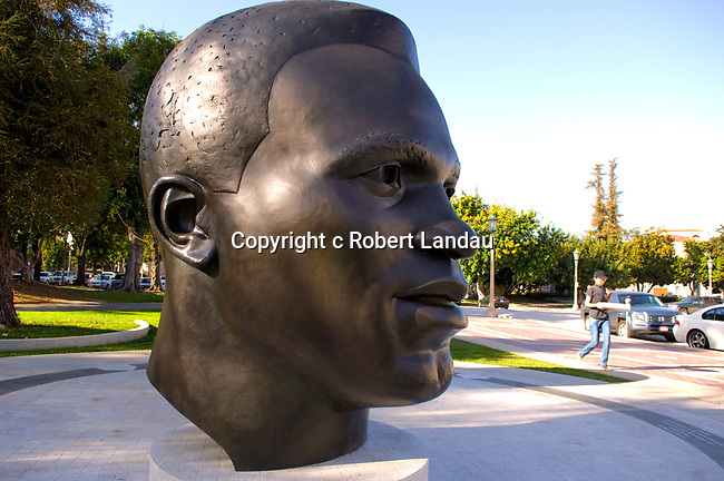 Jackie Robionson statue in Pasadena's Centennial Square opposite City Hall.