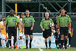 05 September 2016: Match Officials. From left: Assistant Referee Clive Edwards, Fourth Official Jeremy Smith, Referee John Brady, and Assistant Referee Kevin Uitto. The University of North Carolina Tar Heels hosted the Virginia Commonwealth University Rams at Fetzer Field in Chapel Hill, North Carolina in a 2016 NCAA Division I Men's Soccer match. UNC won the game 3-2.