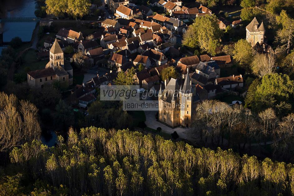Europe/France/Aquitaine/24/Dordogne/Vallée de la Vézère/Périgord Noir/Saint-Léon-sur-Vézère:  le village et le Château de Clérans- Vue aérienne