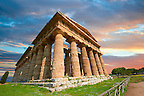 The ancient Doric Greek Temple of Hera of Paestum  built in about 460-450 BC. Paestum archaeological site, Italy.