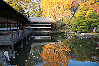 "Teahouse at the pond garden of Shosei-en - Rinchi-tei on the left and Tekisui-ken to its right. Shosei-en Garden was designed as a retreat for the chief priest Sen'nyo.  Shosei-en is also called Kikoku-tei ""Orange Mansion"" because it was once surrounded by orange groves. The garden is a Chisen-Kaiyu-Shiki teien  that is a pond strolling garden with buildings such as tea-ceremony houses arranged here and there throughout the grounds."