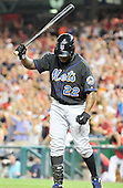 New York Mets pinch hitter Willie Harris raises his bat in disgust after striking out with the bases loaded in the ninth inning to end the game against the Washington Nationals at Nationals Park in Washington, D.C. on Saturday, July 30, 2011.  The Nationals won the game 3 - 0..Credit: Ron Sachs / CNP.(RESTRICTION: NO New York or New Jersey Newspapers or newspapers within a 75 mile radius of New York City)