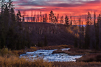 Gardiner River at sunrise in Yellowstone National Park
