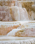 Water runs over a terrace at Mammoth Hot Springs in Yellowstone National Park.