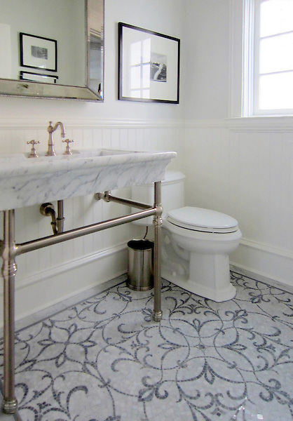 This custom bathroom features Marabel, a handmade mosaic shown in Carrara and Bardiglio, a part of the Silk Road Collection by Sara Baldwin for New Ravenna.<br /> <br /> For pricing samples and design help, click here: http://www.newravenna.com/showrooms/