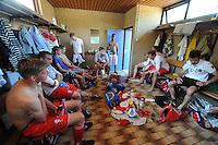VOETBAL: SINT NICOLAASGA: Sportpark v.v. Renado, 27-05-2012, Nacompetitie Zondag 3e/4e klasse, Renado 1 - SC Stiens 1, Eindstand 2-2, teleurgestelde gezichten in de kleedkamer van Renado, ©foto Martin de Jong