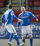 St Johnstone v Motherwell....25.02.14    SPFL<br /> Gary Miller celebrates his goal with Chris Millar<br /> Picture by Graeme Hart.<br /> Copyright Perthshire Picture Agency<br /> Tel: 01738 623350  Mobile: 07990 594431