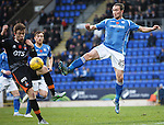 St Johnstone v Kilmarnock...07.11.15  SPFL  McDiarmid Park, Perth<br /> Chris Kane and Stuart Findlay<br /> Picture by Graeme Hart.<br /> Copyright Perthshire Picture Agency<br /> Tel: 01738 623350  Mobile: 07990 594431