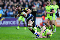 Guy Mercer of Bath Rugby gets past Peter Stringer of Sale Sharks. Aviva Premiership match, between Bath Rugby and Sale Sharks on April 23, 2016 at the Recreation Ground in Bath, England. Photo by: Patrick Khachfe / Onside Images