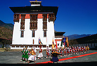 Musicians of the royal procession in a parade at Tashichho Dzong in Thimpu, Bhutan