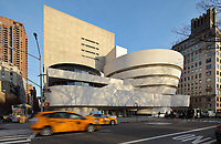 Solomon R Guggenheim Museum, an art gallery featuring Impressionist, Post-Impressionist, early Modern and contemporary art, designed by Frank Lloyd Wright, 1867-1959, and built in Modernist style in 1959, on Fifth Avenue, Manhattan, New York, New York, USA. The conical building has a spiral ramp leading from top to bottom and a central skylight. Picture by Manuel Cohen