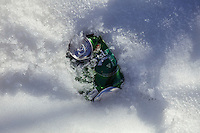 A used beer can littering the fresh snow on Mount Olympus, Cyprus