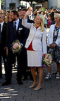 Crown Prince Haakon and Crown Princess Mette-Marit of Norway arrive at Arendal Harbour on the Royal Yacht, Norge, during a  three day visit, to the county of Aust-Agder in Southern Norway