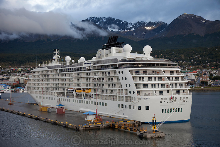 The World, a luxury floating condo ship at the Port of Ushuaia, the provincial capital of Tierra del Fuego, Argentina.