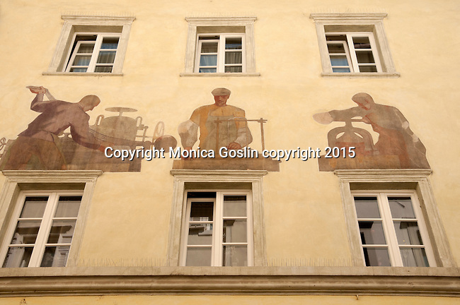 Painting on the facade of a building in the historical downtown
