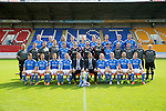 St Johnstone FC 2014-2015 Season Photocall..15.08.14<br /> Back row from left, Brian Easton, Steven Anderson, Murray Davidson, Tom Scobbie, Liam Caddis, Scott Brown, Gary McDonald, Gareth Rodger and Gary Miller.<br /> Middle row from left, Alistair Stevenson (Youth Dev Manager), Ewan Peacock (Chief Scout), George Browning (Youth Dev GK Coach), Colin Leavy (Sports Scientist), Chris Kane, Steve Banks, Alan Mannus, Zander Clark, Dylan Easton, Alec Cleland (First Team Coach), Michael McBride (Physio), Alan Lochtie (Asst Physio) and Tommy Campbell (Kit Manager).<br /> Front row from left, Adam Morgan, Chris Millar, Steven MacLean, Dave Mackay (Captain), Tommy Wright (Manager), Callum Davidson (Asst Manager), Frazer Wright (Vice-Captain), David Wotherspoon, Lee Croft and Michael O'Halloran.<br /> Picture by Graeme Hart.<br /> Copyright Perthshire Picture Agency<br /> Tel: 01738 623350  Mobile: 07990 594431
