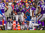 19 October 2014: Minnesota Vikings wide receiver Jarius Wright breaks tackles against the Buffalo Bills in the third quarter at Ralph Wilson Stadium in Orchard Park, NY. The Bills defeated the Vikings 17-16 in a dramatic, last minute, comeback touchdown drive. Mandatory Credit: Ed Wolfstein Photo *** RAW (NEF) Image File Available ***