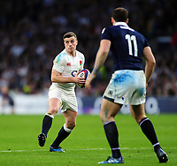 George Ford of England in possession. RBS Six Nations match between England and Scotland on March 11, 2017 at Twickenham Stadium in London, England. Photo by: Patrick Khachfe / Onside Images