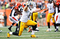 Heath Miller #83 of the Pittsburgh Steelers reacts to a non-call against the Cincinnati Bengals during the game at Paul Brown Stadium on December 12, 2015 in Cincinnati, Ohio. (Photo by Jared Wickerham/DKPittsburghSports)