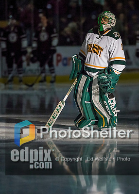 18 December 2016: University of Vermont Catamount Goaltender Mike Santaguida, a Senior from Mississauga, Ontario, is introduced prior to a game against the Union College Dutchmen at Gutterson Fieldhouse in Burlington, Vermont. The Catamounts fell to their former ECAC hockey rivals 2-1, as the Dutchmen sweep the two-game weekend series. Mandatory Credit: Ed Wolfstein Photo *** RAW (NEF) Image File Available ***