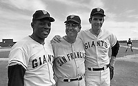 Giants, Willie Mays, unidentified, and Gaylord Perry.<br /> at Casa Grande, spring training site..(photo/Ron Rfiesterer)