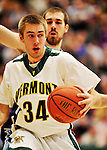 16 January 2012: University of Vermont Vermont Catamount forward Matt Glass, a Senior from Underhill Center, VT, in action against the University of Maine Black Bears at Patrick Gymnasium in Burlington, Vermont. The Catamounts defeated the Black Bears 79-65 notching their 10th win of the season. Mandatory Credit: Ed Wolfstein Photo