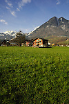 Beckenreid homes and green countryside with snowcapped mountains in the background, Beckenreid, Luzern area, Switzerland.