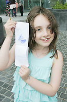 28/6/2010. The X Factor hopeful Rosie Holland Behal aged 8 Strandville Ave is pictured with her autographs of Katy Perry, Cheryl Tweedy, Simon Cowell and Louis Walsh outside the Dublin Convention center Spencer Dock. Picture James Horan/Collins.