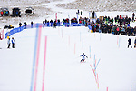 FRANCONIA, NH - MARCH 10:   Rob Cone of Middlebury College nears the finish line during the Men's Slalom event at the Division I Men's and Women's Skiing Championships held at Cannon Mountain on March 10, 2017 in Franconia, New Hampshire. (Photo by Gil Talbot/NCAA Photos via Getty Images)