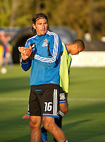 SANTA CLARA, CA - July 18, 2012: San Jose Earthquake forward Alan Gordon (16) prior to the San Jose Earthquakes vs  FC Dallas match at the Buck Shaw Stadium in Santa Clara, California. Final score San Jose Earthquakes 2, FC Dallas 1.