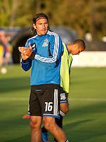 SANTA CLARA, CA - July 18, 2012: San Jose Earthquake forward Alan Gordon (16) prior to the San Jose Earthquakes vs  FC Dallas match at the Buck Shaw Stadium in Santa Clara, California. Final score San Jose Earthquakes 2, FC Dallas 1.