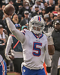 Buffalo Bills quarterback Tyrod Taylor (5) passes downfield on Sunday, December 04, 2016, at O.co Coliseum in Oakland, California.  The Raiders defeated the Bills 38-24.