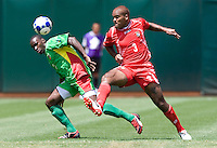 05 July 2009: Loic Loval of the Guadeloupe fights for the ball against Luis Moreno of the Panama during the game at Oakland-Alameda County Coliseum in Oakland, California.    Guadeloupe defeated Panama, 2-0.