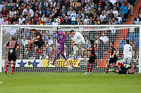 Celta goalkeeper clears the ball
