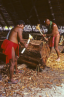 "Carving traditional Hawaiian fishing canoe, ""Mauloa,"" Puuhonua O Honaunau, Hawaii.Mau Piailug (left).Tava Taupu (right)"