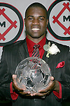 11 January 2008:  O'Brian White of the University of Connecticut holds his 2007 Hermann Trophy.....The 2007 Hermann Trophy was presented to the NCAA Division I female and male players of the year by the Missouri Athletic Club in St. Louis, Missouri.