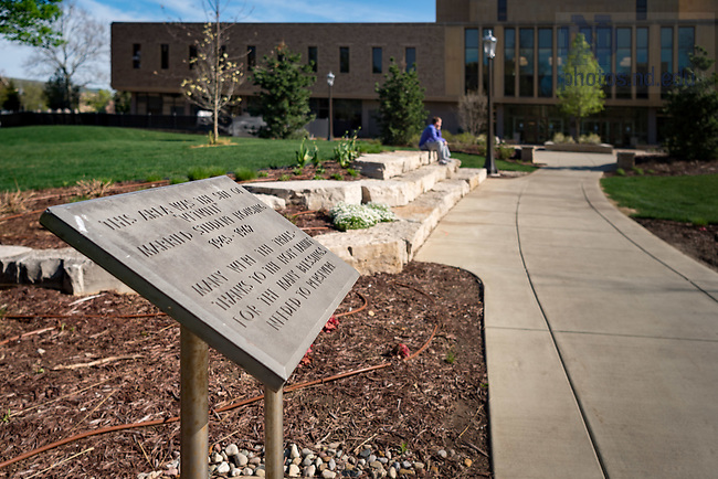 "April 22, 2017; Sign marking the former location of married student housing, known at the time as ""Vetville."" (Photo by Matt Cashore/University of Notre Dame)"