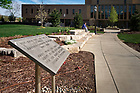"""April 22, 2017; Sign marking the former location of married student housing, known at the time as """"Vetville."""" (Photo by Matt Cashore/University of Notre Dame)"""