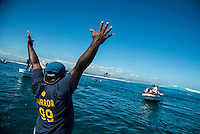 Namotu Island Resort, Nadi, Fiji (Wednesday, June 15 2016):   Ulai Namotu Boatman - The Fiji Pro, stop No. 5 of 11 on the 2016 WSL Championship Tour, was recommenced today at Cloudbreak with a new SSW swell in the 6' plus range. The contest had endured a long spell of layaways due to small conditions but it roared back to life with the new swell which is expected to continue for the rest of the waiting period.<br /> The hat of the day was between Taj Burrow (AUS) who has retired for the pro tour and John John Florence (HAW) who is being tipped as a World Champion this year.<br /> Both surfers were counting two 9 pt plus rides in their scores but it was Florence who scraped through finishing Burrows 18 year career on a high.<br /> Photo: joliphotos.com