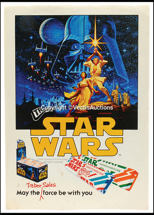 BNPS.co.uk (01202 558833)<br /> Pic: Vectis/BNPS<br /> <br /> Star Wars (1977) Film Poster. UK &quot;Trebor&quot; Advertising Tie-in &pound;1,080.<br /> <br /> A tiny plastic rocket from a Star Wars action figure has sold for almost &pound;2,000 as part of a huge &pound;160,000 sale of rare toys relating to the film franchise.<br /> <br /> The red missile measures just 28mm long and was attached to the back of a prototype figure of bounty hunter Boba Fett.<br /> <br /> A complete prototype Boba Fett can sell for &pound;13,000 but thanks to a letter of authentication and grading by the Action Figure Authority (AFA), the small rocket made &pound;1,920 by itself at auction.<br /> <br /> It was one of almost 700 Star Wars lots that sold for &pound;160,000, with many toys that originally sold for &pound;1.50 achieving four-figure sums.<br /> <br /> With the release of Star Wars:The Force Awakens imminent, interest in memorabilia from the franchise has never been higher.